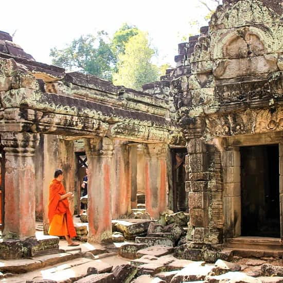 Angkor Wat temple and Monk